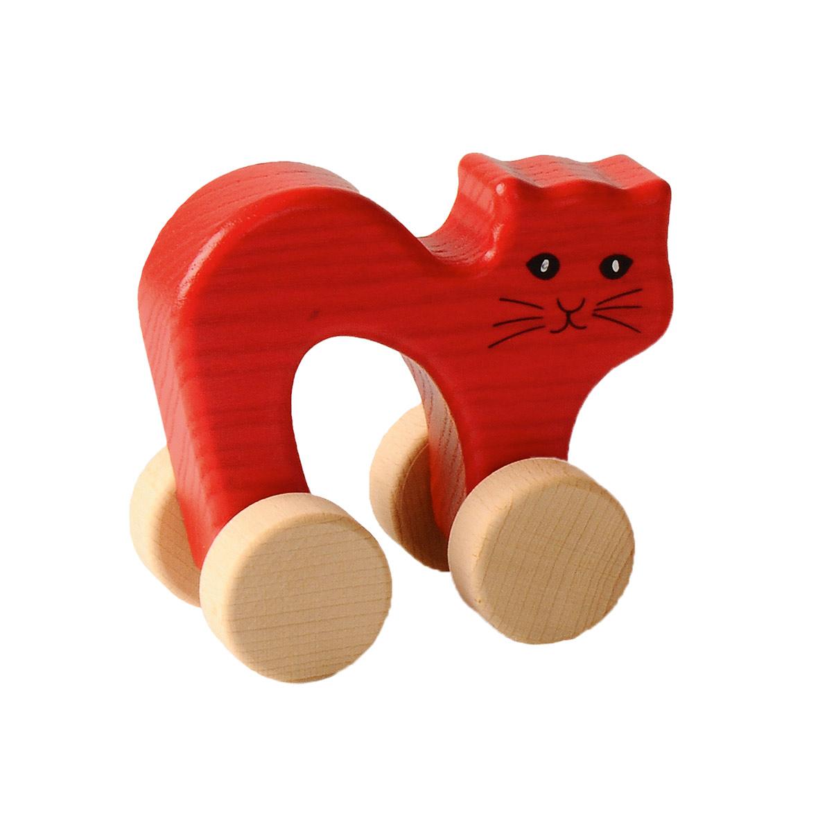 kinderspielzeug katze auf rädern, holz, rot