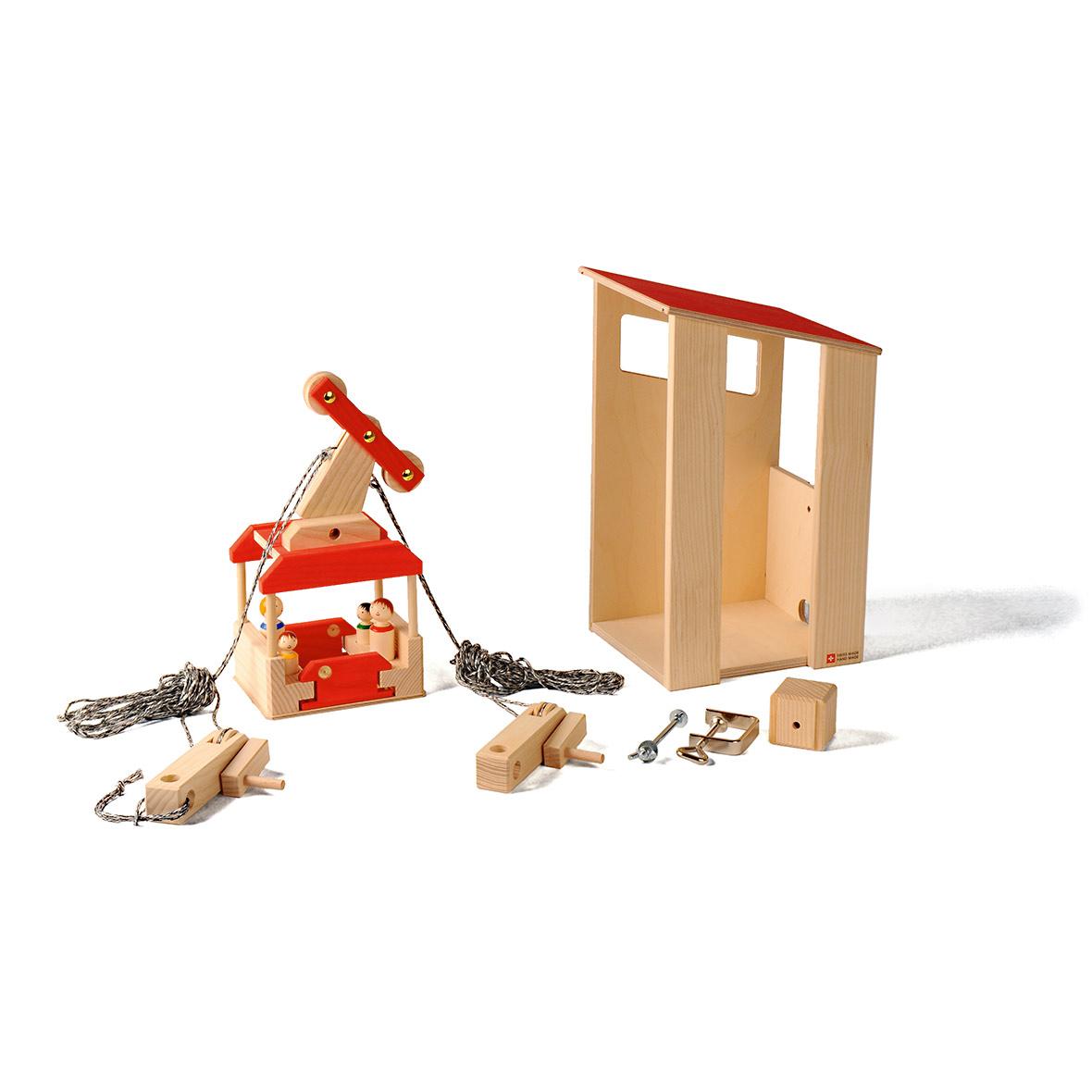 kinderspielzeug seilbahn set mit station, holz
