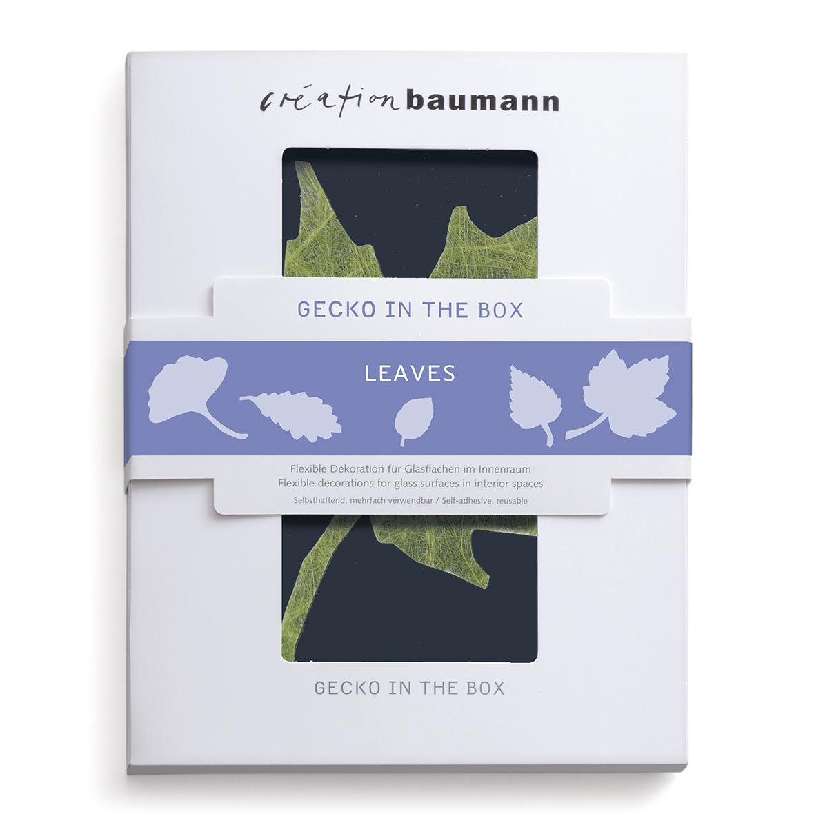 fenstersticker gecko in the box leaves verpackt