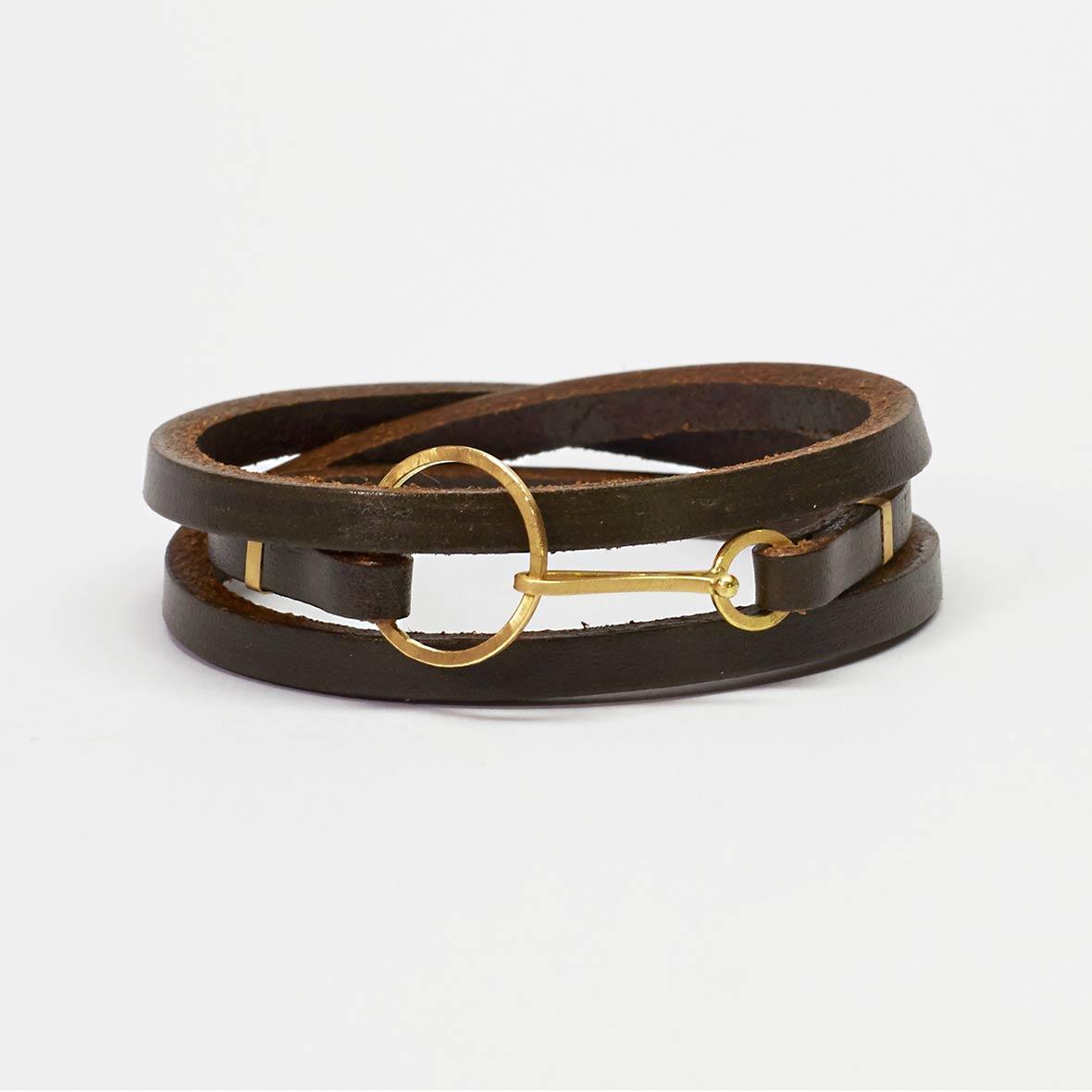 armband leder und gelbgold von sabine thuler