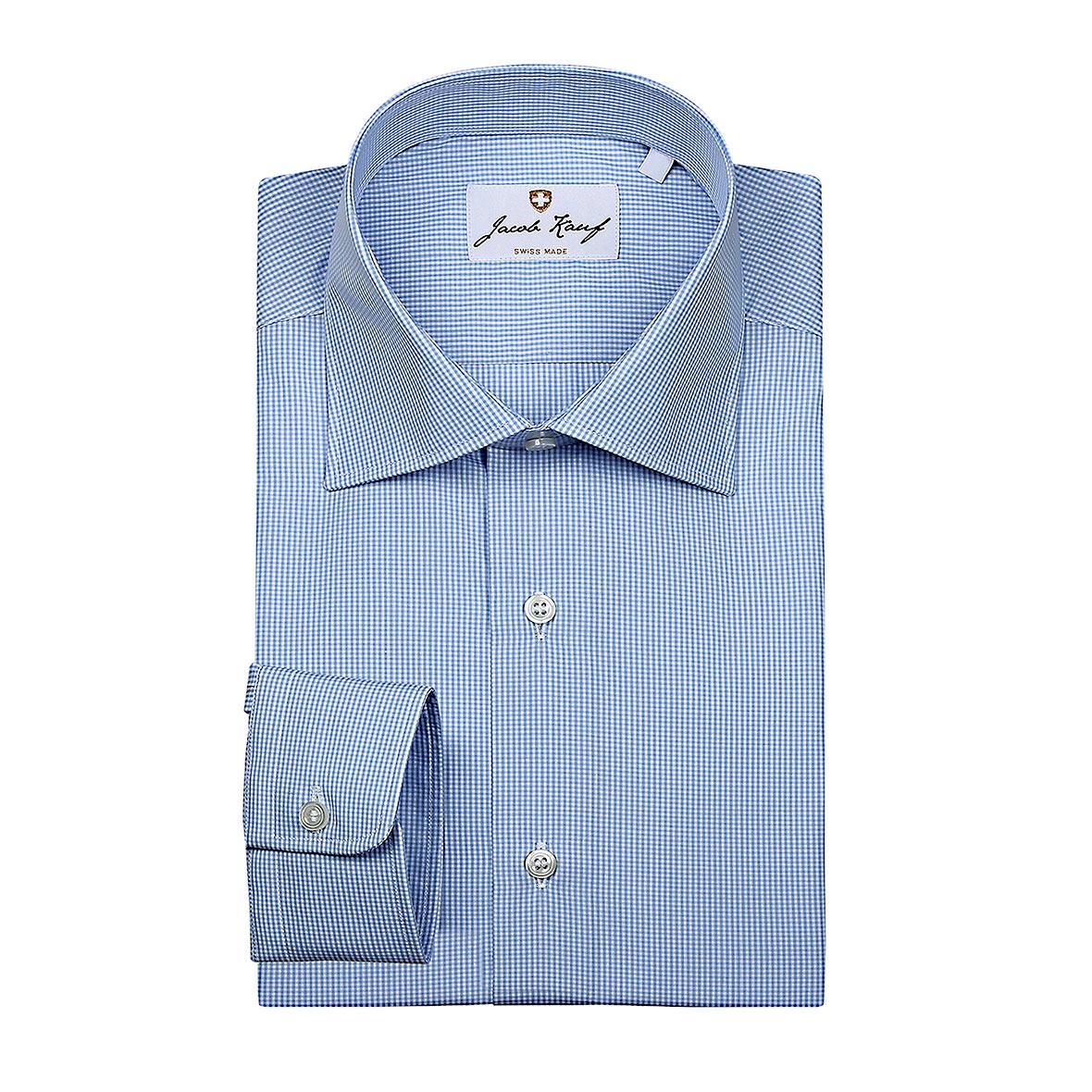 schweizer hemd jacob kauf, fein kariert, blau weiss