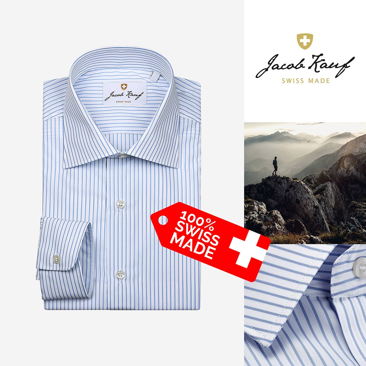 schweizer hemd jacob kauf, blau weiss gestreift