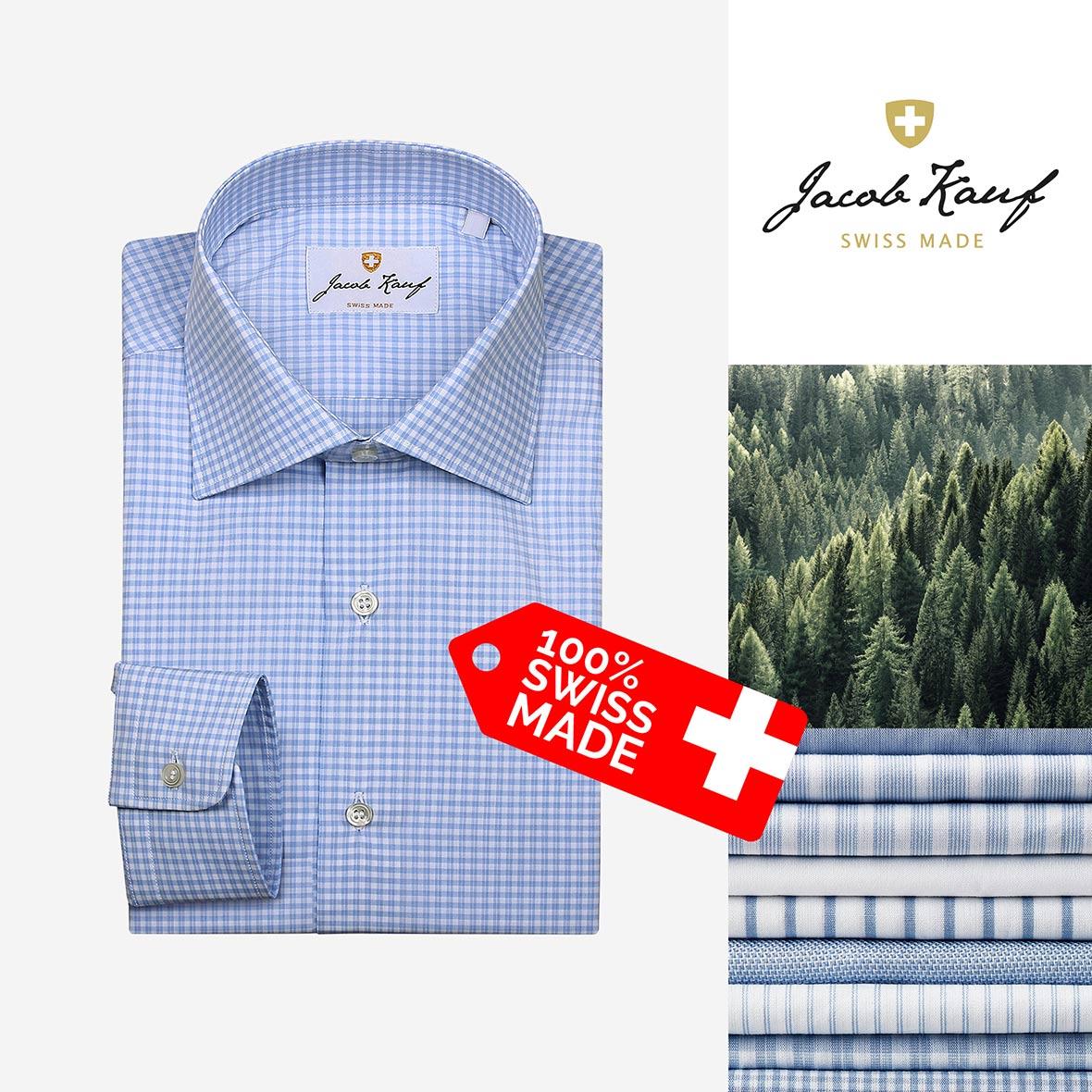 schweizer hemd jacob kauf, blau weiss kariert