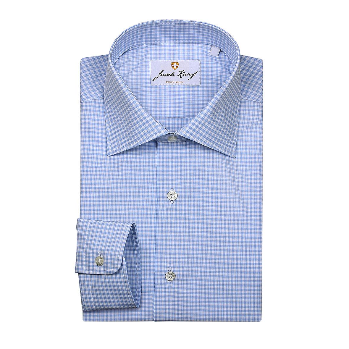 schweizer hemd jacob kauf, kariert, blau weiss