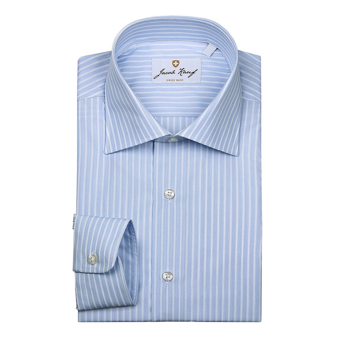 schweizer hemd jacob kauf, breit gestreift, blau weiss