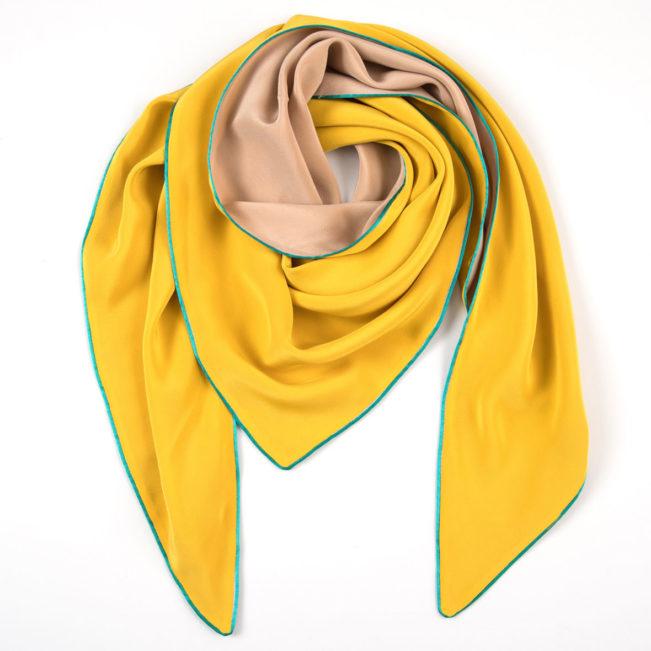 dreieckschal moitié carré gelb/beige