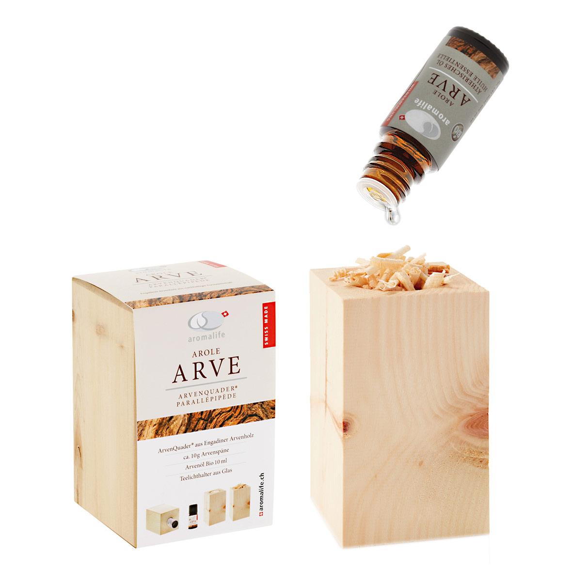arvenquader mit ätherischem bio arvenöl von aromalife
