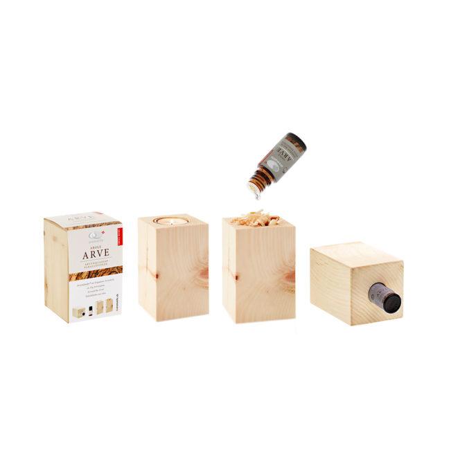 arvenquader mit ätherischem bio arvenöl und teelichthalter von aromalife