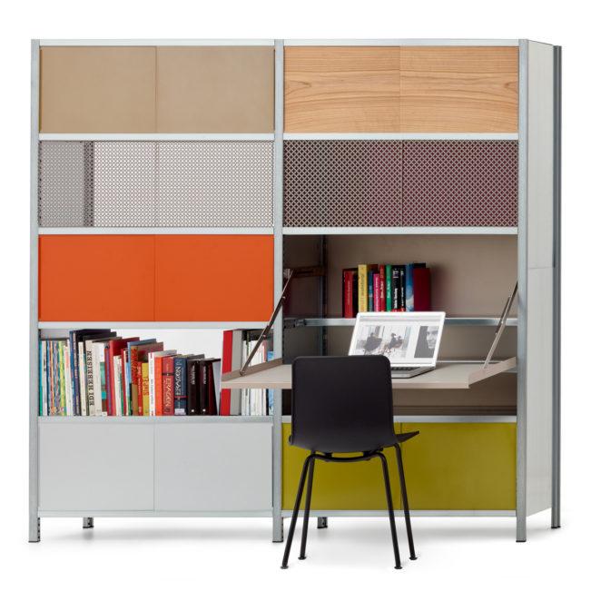 doppelregal mit sekretär von mf system, farbig