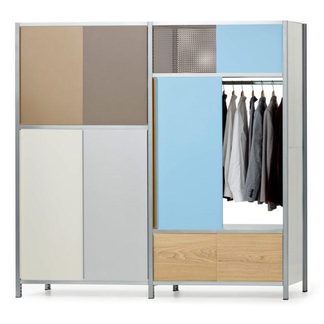 doppelregal mit garderobe von mf system, farbig