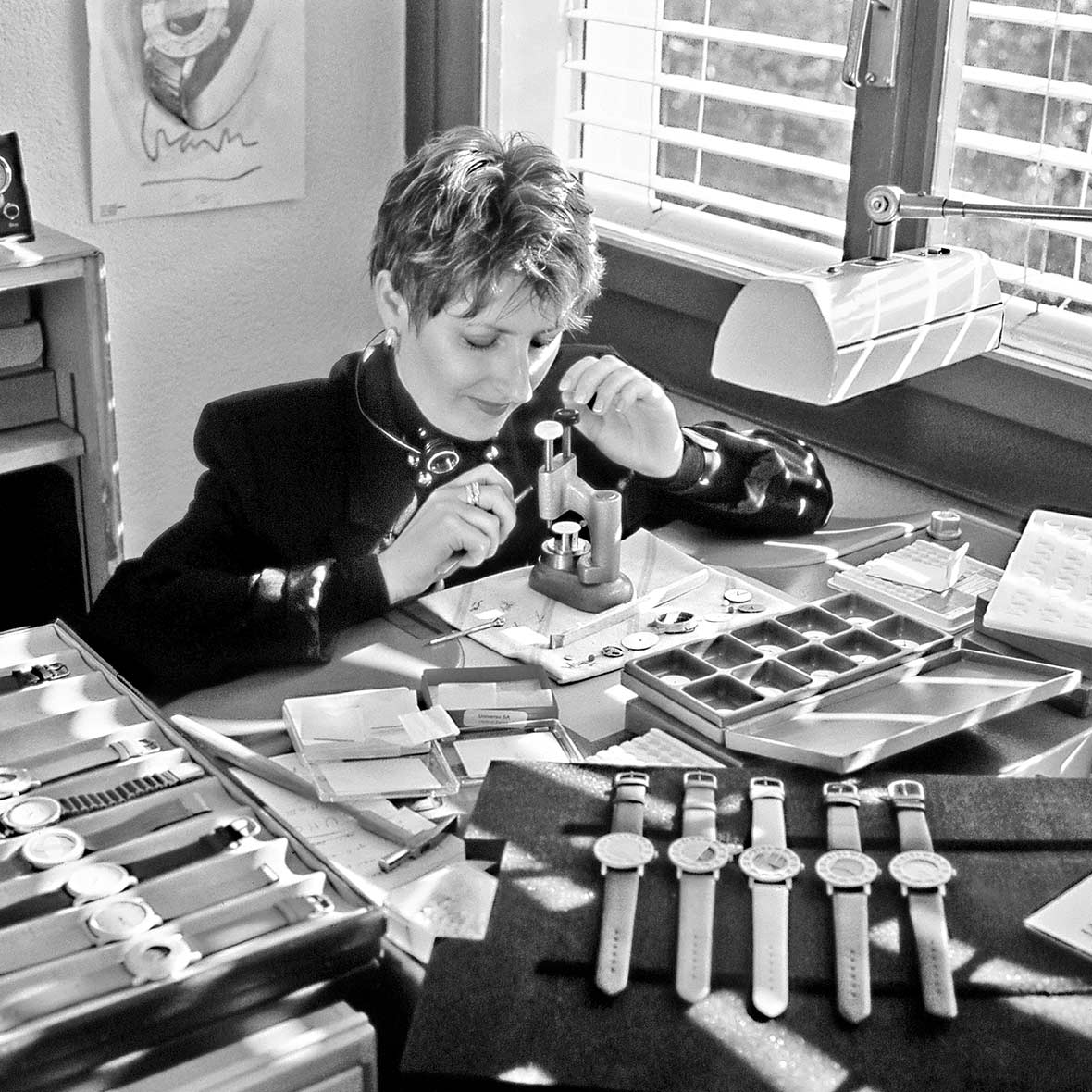 Atelier Pierre Junod mit Uhrenmacherin Ehefrau Danuta