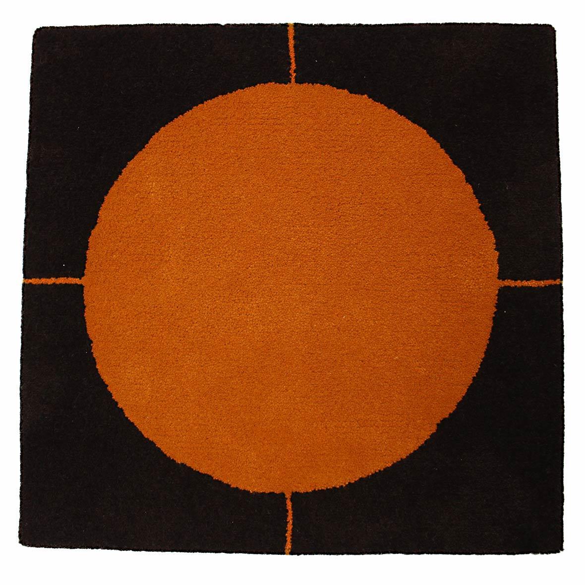 jassteppich modern dunkelbraun gelb orange kramis