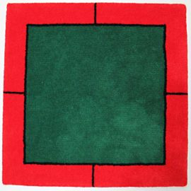 klassischer jassteppich schnurwolle gruen rot schwarz