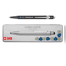 kugelschreiber 849 edelweiss schwarz extraflaches etui grau