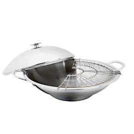 wok mit deckel und abtropfgitter