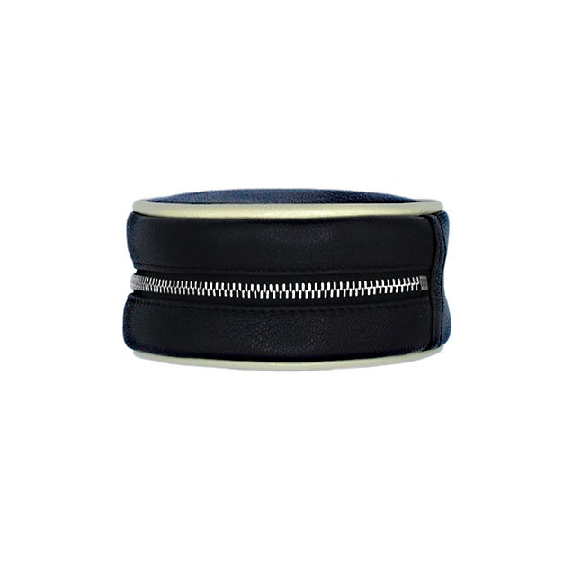schmuck etui pacman 09   farbe schwarz   bordüre ecru   reissverschluss