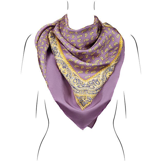 seidentuch lila   handrolliert   Öko tex   kollektion le foulard