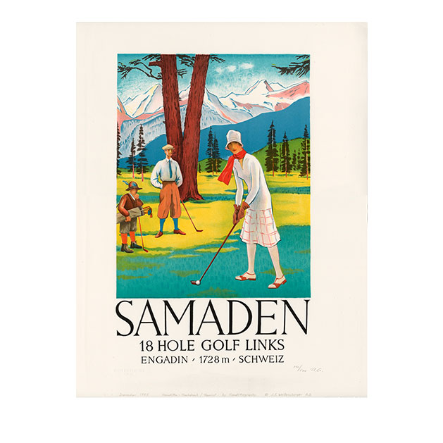 lithografie samaden golf steinlithodruck kartonage