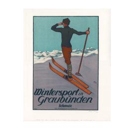 lithografie wintersport graubünden design walter koch steinlithodruck