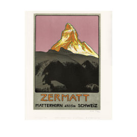 lithografie zermatt matterhorn design emil cardinaux steinlithodruck