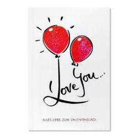 valentinstag rot glitzerballone abc karten