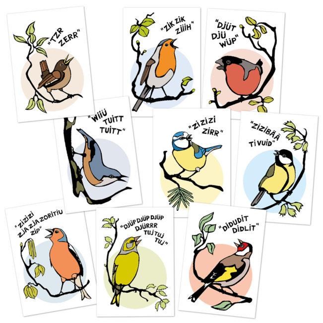 happy tweets postkarten set frehsfih