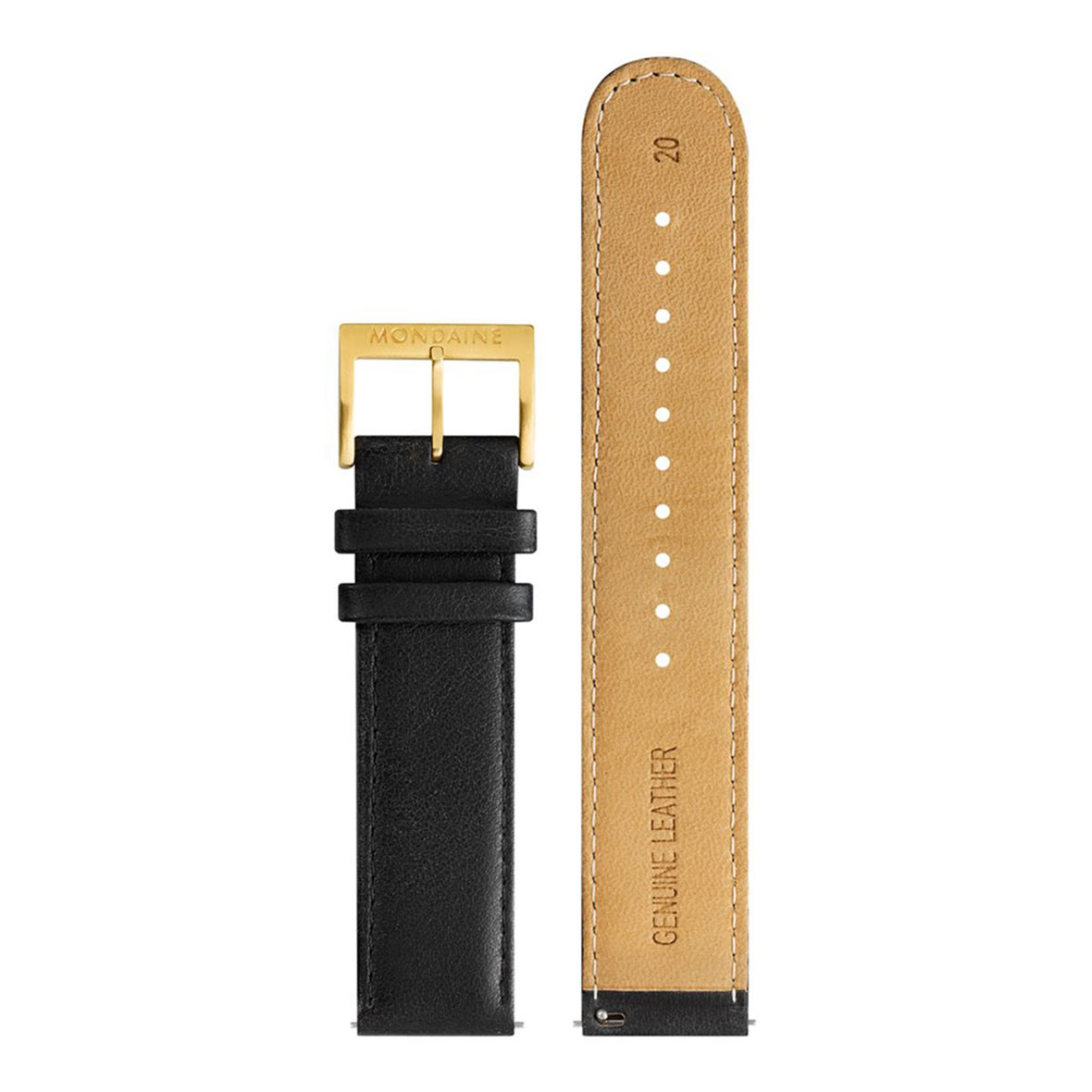 armbandurh evo2 gold lederband mondaine