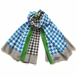 foulard pied de coq lichtblau souze