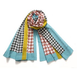 foulard pied de coq terracotta souze