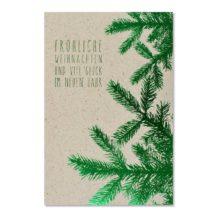 weihnachtskarte gruene tannaeste abc
